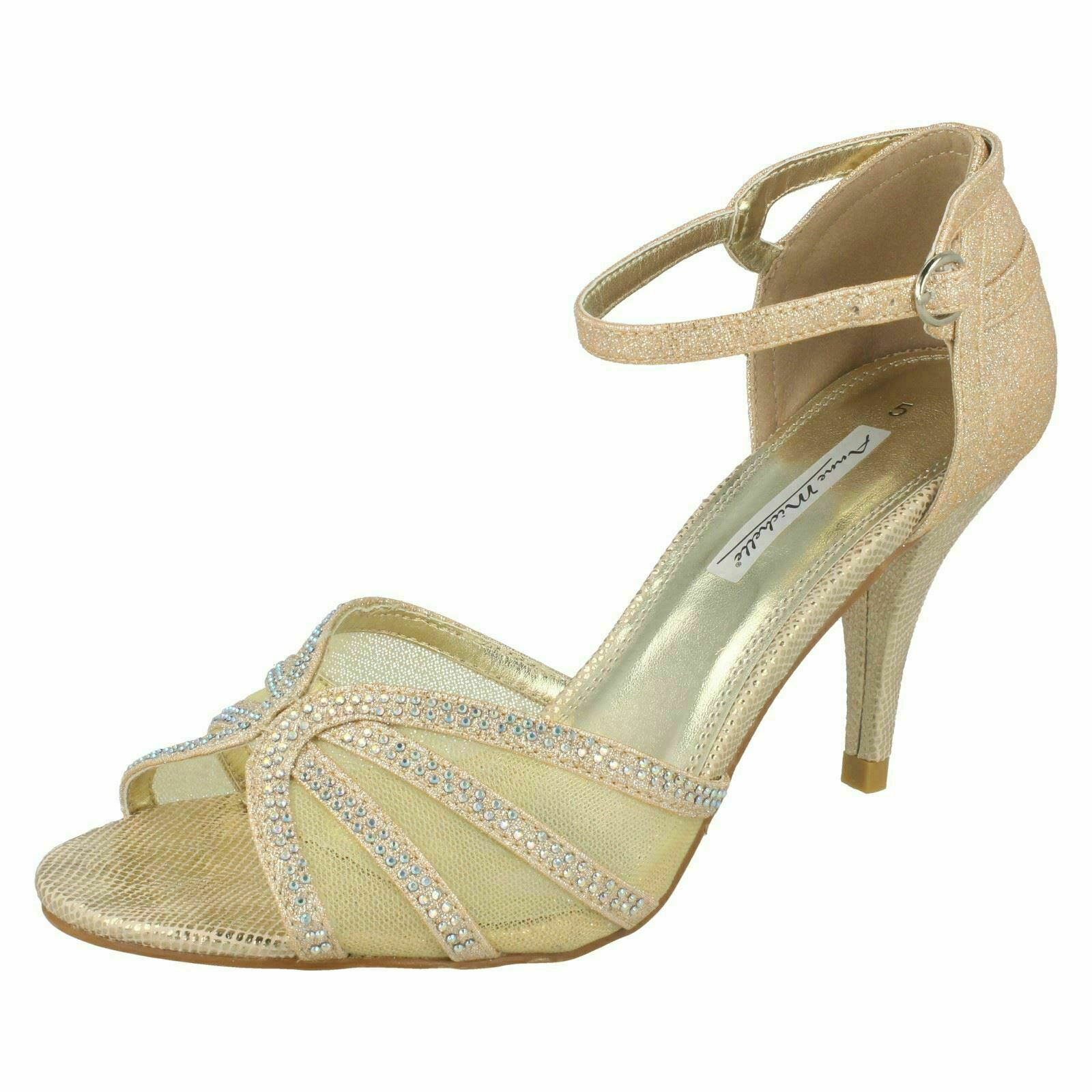 Ladies Anne Michelle Gold Glitzy Heeled Sandals Open Toe Shoes : Downtown