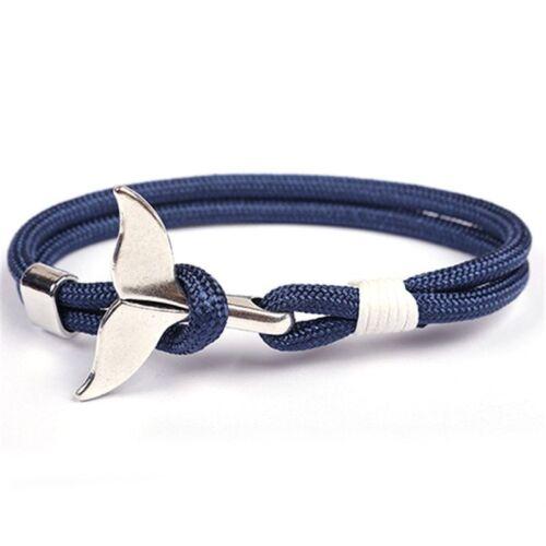 Whale Tail Anchor Bracelet Hommes Femmes Fashion Trendy Charme nautique survie Mignon