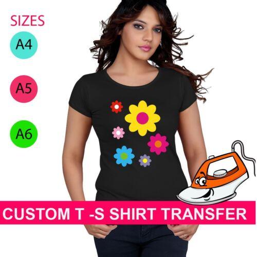 Custom Multi Flower Print Iron On Fabric Heat Transfer TShirt Hen Party Crew Top