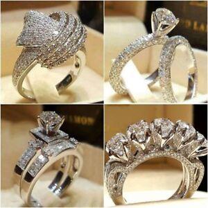 Infinity-925-Silver-Women-Wedding-Rings-White-Sapphire-Fashion-Jewelry