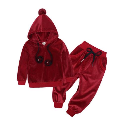 2Pcs Set Kids Fleece Clothes Boys Girls Soft Tops /& Pants Casual Sports 1-7Years