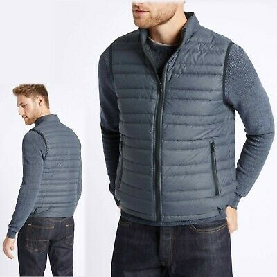 M/&S Gents/' QUILTED GILET BODYWARMER with Stormwear ~ Var Sizes ~ NAVY BLUE