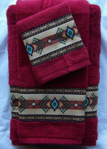 Custom Southwest Aztec Border 3 pc  Sedona Southwest//Western Decor Towel Set