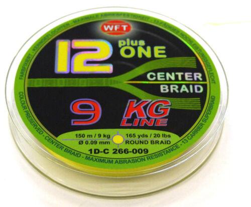 WFT 12plus ONE 13-fach 9KG 0.09mmØ CENTER BRAID wahlw grün o gelb 150m 0,31€//m