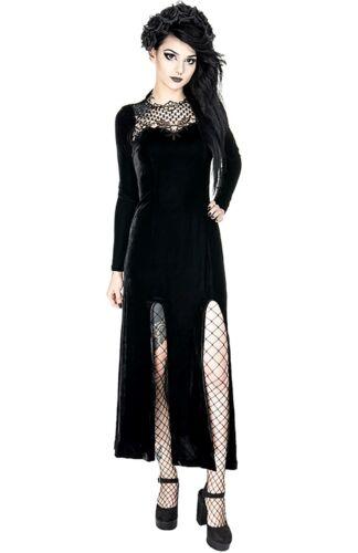 Restyle Kleid Gothic Nugoth Samt Spitze Schlitz Schnürung Witchy Dress Widow