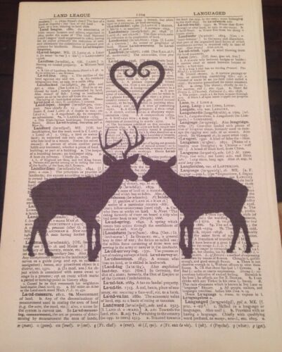 Stag Deer Heart Print Vintage Dictionary Page Wall Art Picture Love Animals