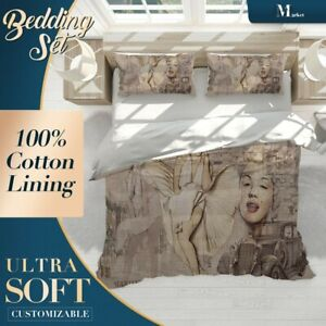 Monroe-Sketch-Pop-Art-Brown-Duvet-Cover-Set-with-Zipper-And-Matching-Pillowcases