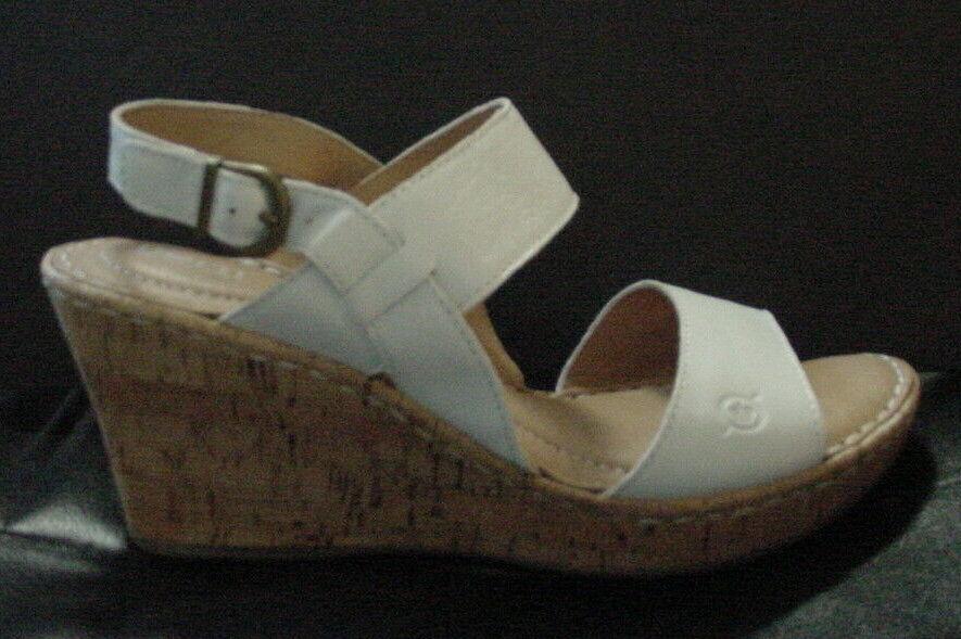 NIB Born Cherry Cork Wedge Ankle Strap Leather Sandals White Womens Sz 6 9 10