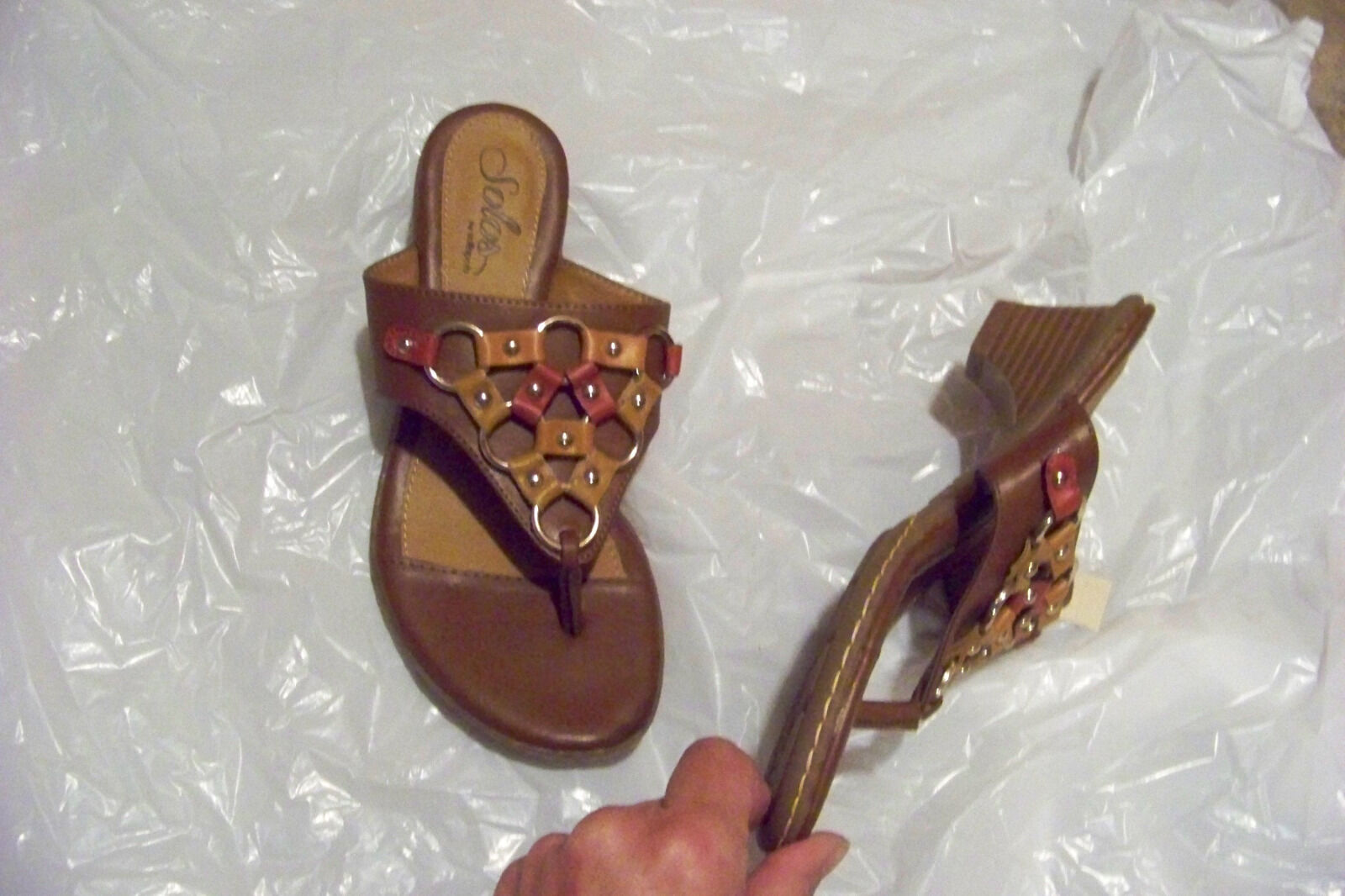 womens solos by softspots brown ring 6 strap heels shoes size 6 ring 1/2 d499ba