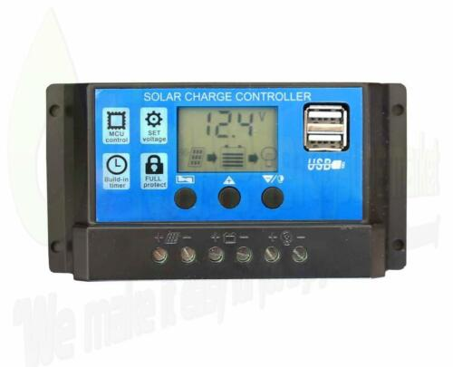30A 12V//24V LCD Solar Panel Battery Regulator Charge Controller Dual USB LCD