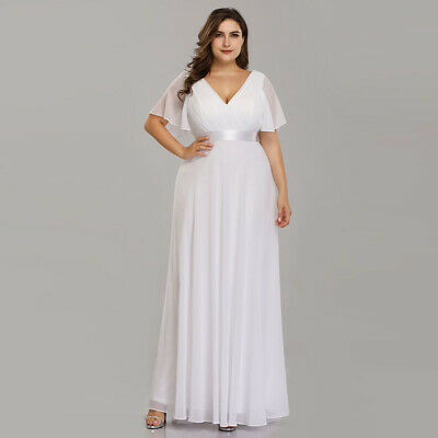 Ever-Pretty Plus Size Girls White Long Formal Maxi Summer Wedding Dresses  09890 | eBay