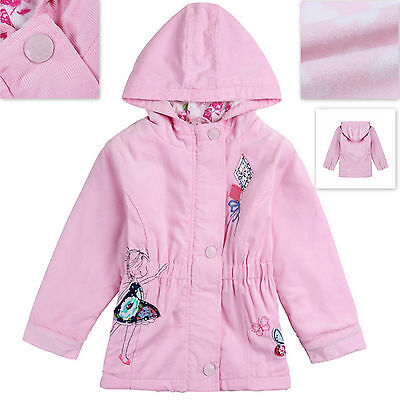Girls Pink Fleece Lined 100/% Cotton Coat Jacket Only 18-24M /& 2-3Years left