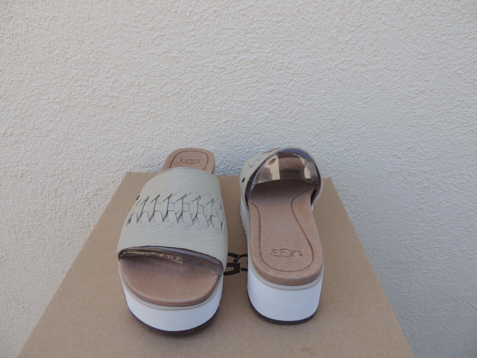 432aec5dccf UGG Canvas Delaney Leather Platform Wedge Slide Sandals US 6.5  EUR ...