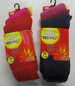 Mujer-Calcetines-termicos-Paquete-de-3-Reg-Tag-41b260-ROSA-O-Purpura-MIX