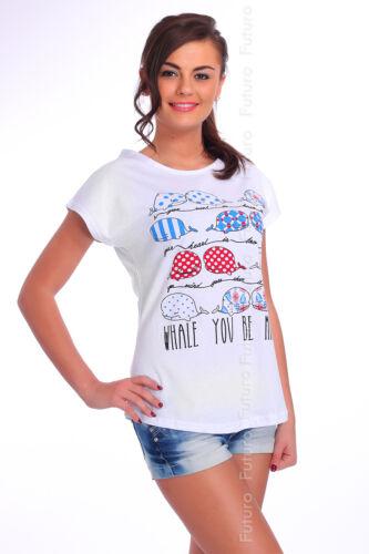 Lässige T-Shirt Wal Aufdruck 100/% Cotton Top Party Rundhals Tunika Größe 8-14