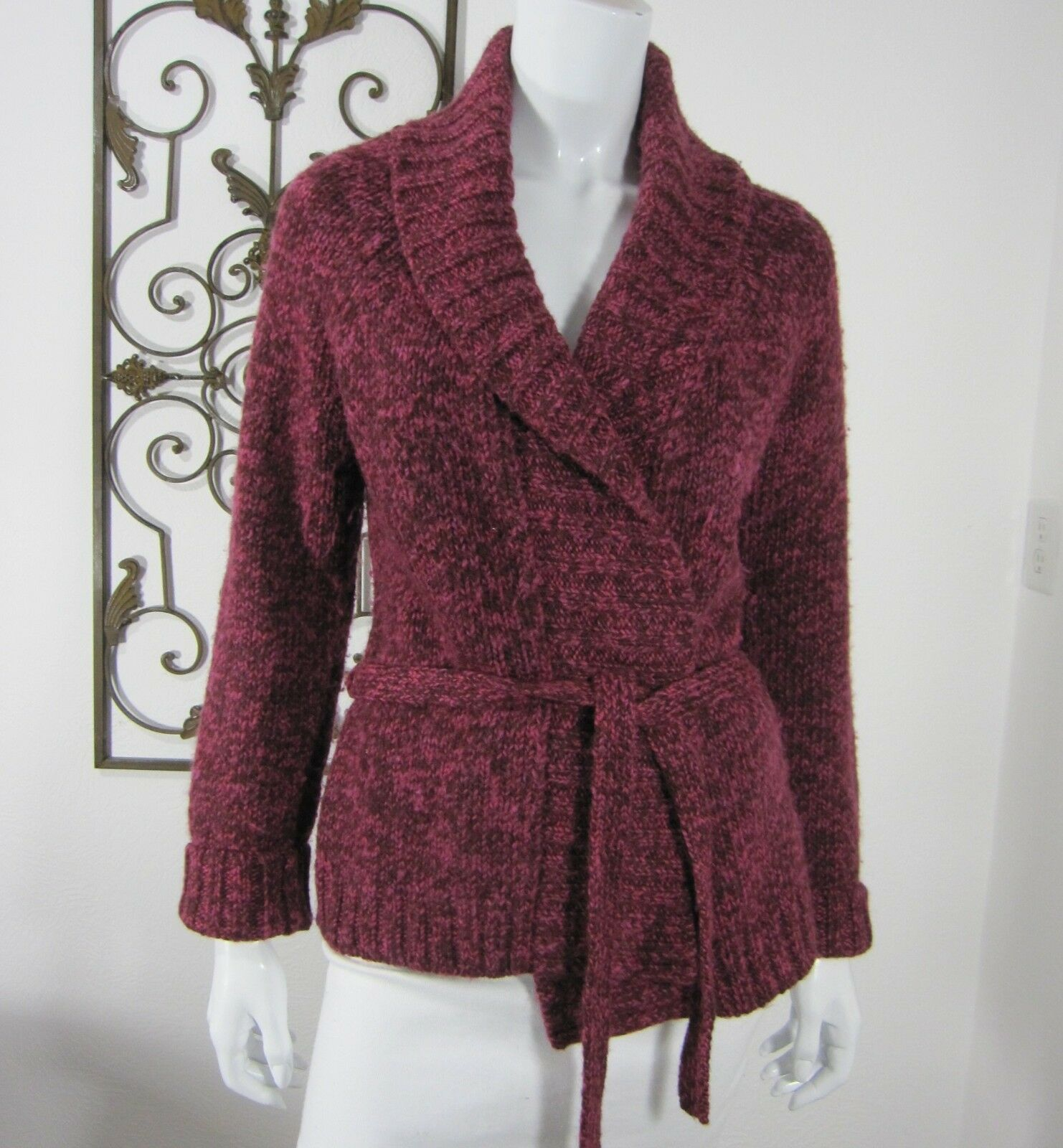 Ann Ann Ann Taylor LOFT Long Sleeve Collar Wrap Cardigan Sweater Size M Medium Burgundy 3af0b6