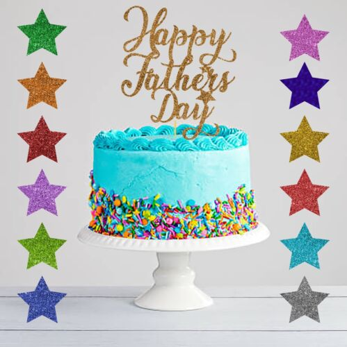 Personalised best Dad Happy Fathers Day Glitter Cake Topper