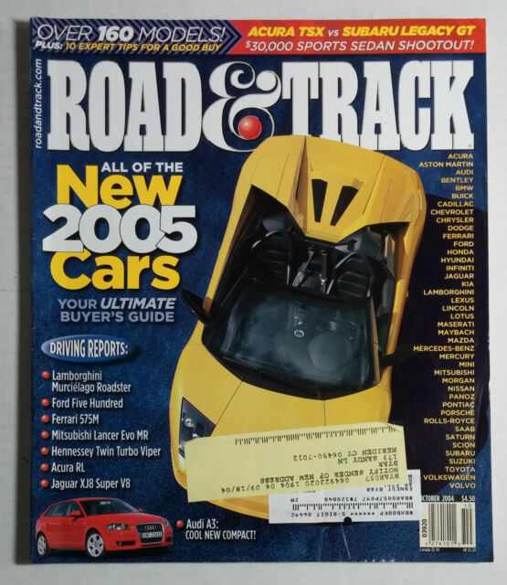ROAD & TRACK CAR MAGAZINE 2004 OCTOBER LAMBORGHINI MURCIELAGO AUDI A3