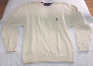 Tommy Hilfiger cream white crest knitted sweater men sz L vintage ...