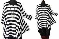 Lagenlook°Flügel-Tunika-Shirt°Blockstreifen°black&white°Gr.5,58,60,6-7XL