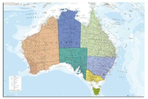 Laminated Available Australia Map Large Maxi Wall Poster New