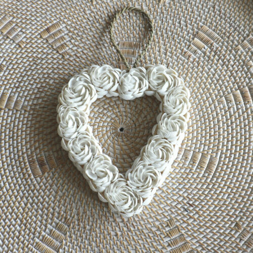 Heart decorative ornament sea hanging shell handmade beach decor nautical