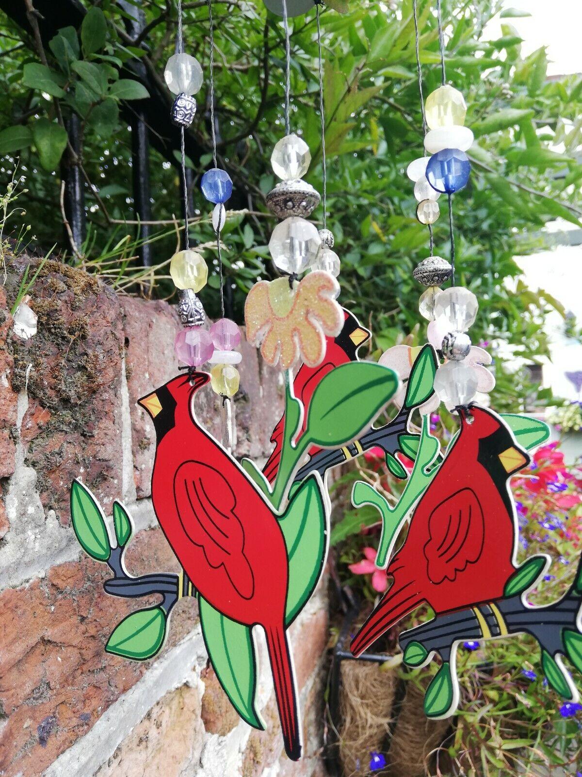 Red Cardinal Bird & Flowers Wind Chimes.