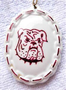 Large Hand-painted China Maroon & White Bulldog Mascot Pendant + Chain Necklace