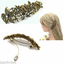 10 cm de cristal de aspecto vintage de Diseño de Flores Pasador de Oro francés el pelo pinza de muelle