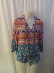 27d15f4d3dac4 WOMENS TOLANI FLORAL MULTI-COLOR SILK BOHO BELL SLEEVES BLOUSE SIZE ...