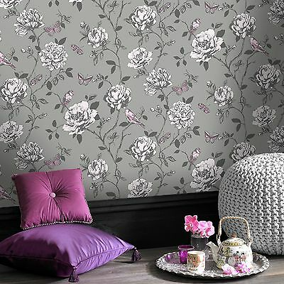 Amour Grey Silver Floral Pink / Lilac Butterfly Birds Wallpaper 204346