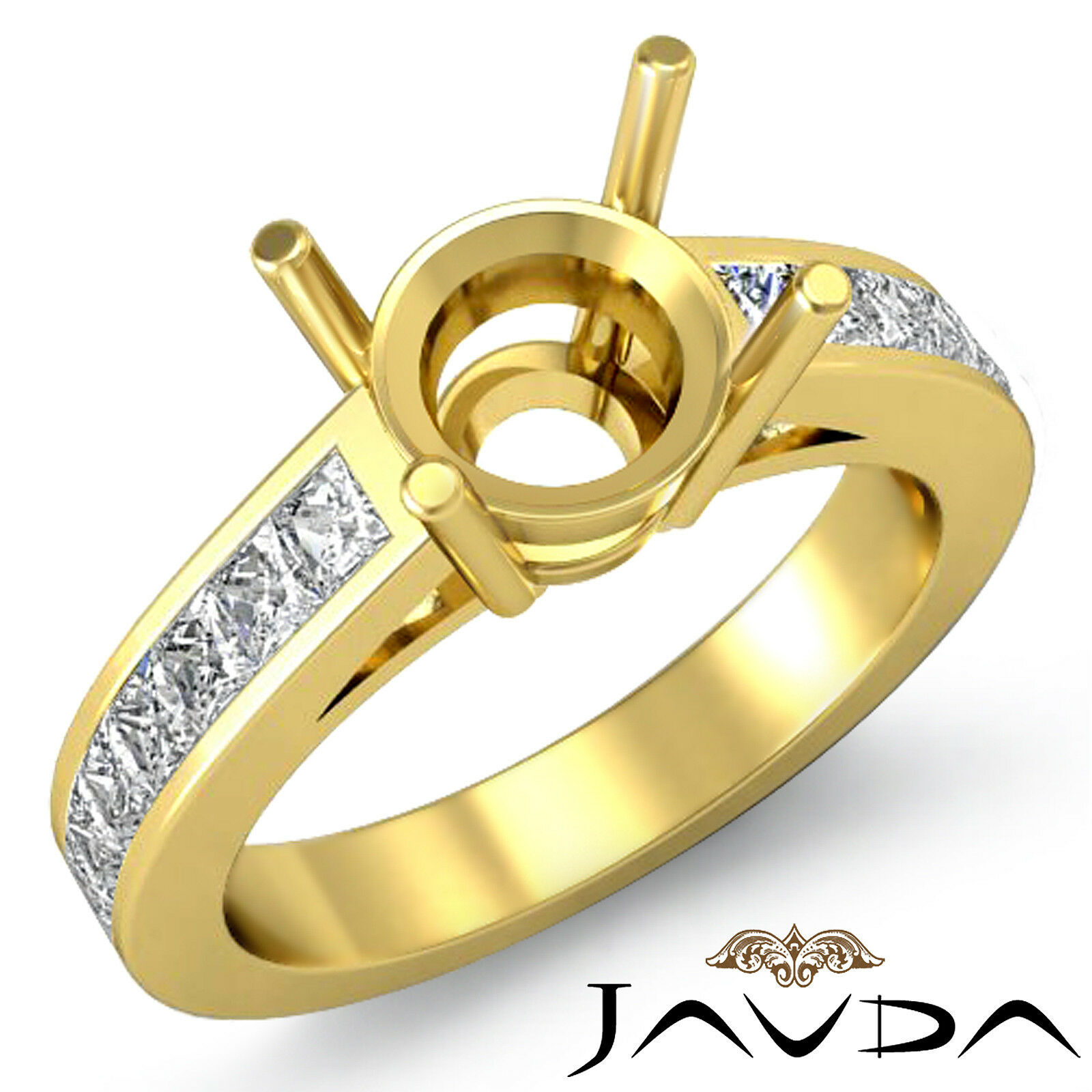 Natural Diamond Engagament Javda Ring 18k Yellow gold 0.5Ct Round Semi Mount F
