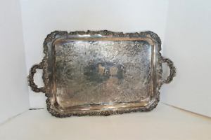 Large Antique Silverplate Ornate Serving Tray