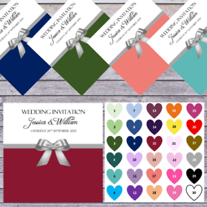 PERSONALISED WEDDING INVITES choose from SLATE BLUE SAGE GREEN to ROSE PINK x10