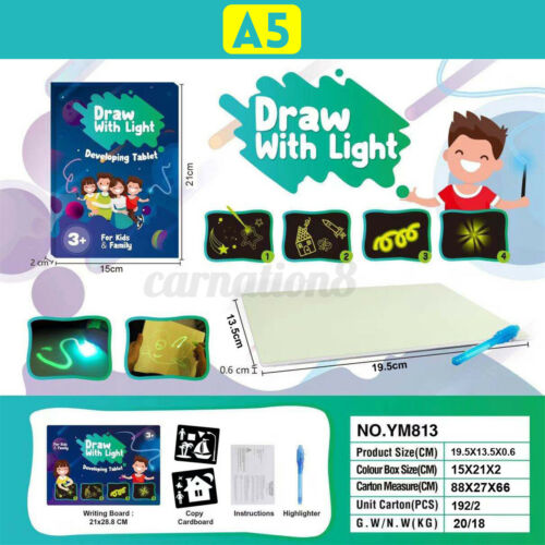 A3 A4 A5 Fluorescent Light Writing Pad Drawing Paint Board Kids Educational US