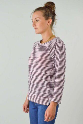 MARKS /& SPENCER Womens Burgundy Ivory Stripe Top Boat Neck Pullover Sweatshirt