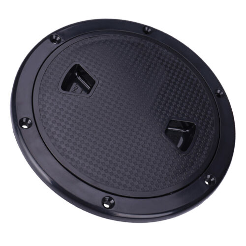 "Marine Boat RV Black 8/"" Access Hatch Cover Screw Out Deck Plate"