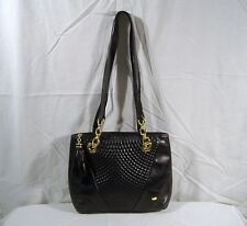 Bally Black Leather Shoulder Bag Purse Quilted Double Strap Chain Italy Lambskin