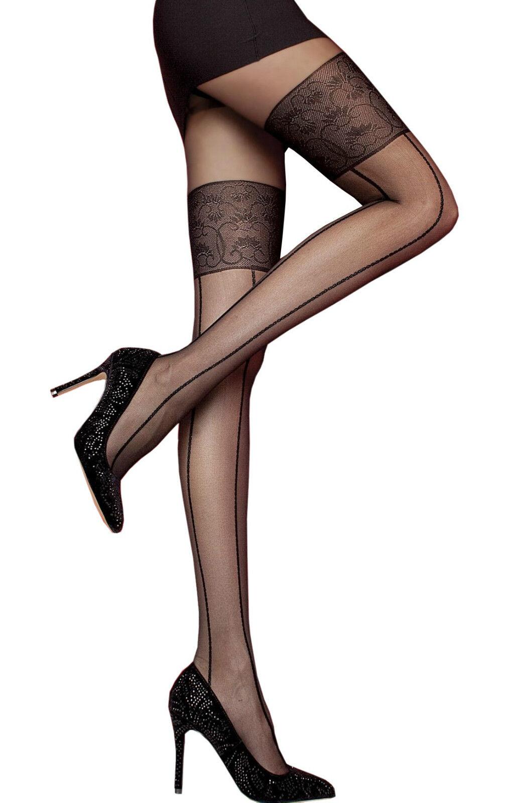 Collant sexy femme nylon noir - - Fiore - - Tullia - Fantaisie effet bas 20 den 05864a