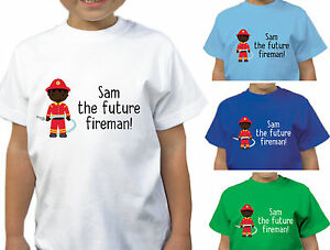 febd22d0 Image is loading BOYS-PERSONALISED-RED-FUTURE-FIREMAN-T-SHIRT-CHILDRENS-