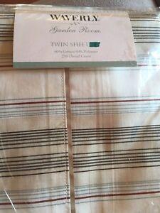 Waverly-Garden-Room-Stripe-Spring-Blossom-Vintage-Twin-Flat-Bed-Flat-Sheet-New