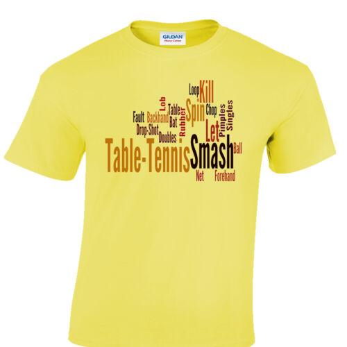 Tennis De Table T-Shirt Cadeau joueur de ping-pong Unique Grand Cadeau Amant WORD CLOUD