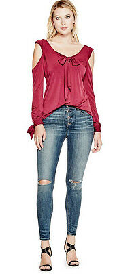 NWT GUESS Long Sleeve Cold shoulder Bow tie Top Raspberry red XS 1 2 3