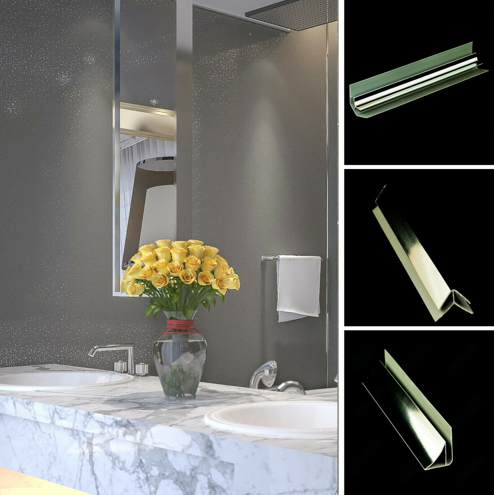 Grey Sparkle Wall Panels or Bathroom Trims Shower Wet Wall Cladding PVC Ceiling