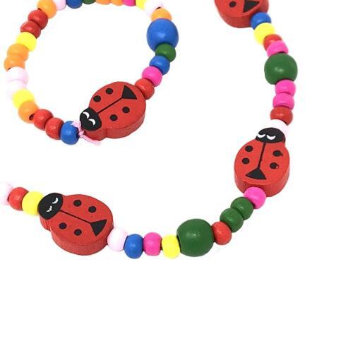 Girls Children Wooden Ladybird Necklace and Bracelet Set Stretchy Jewellery Kids