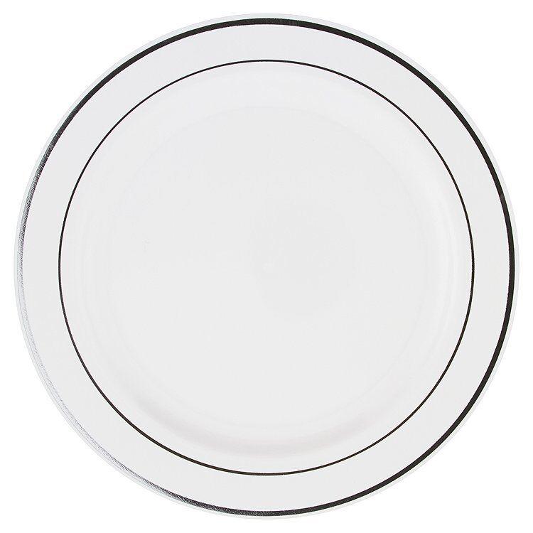 100 Blanc Argent Rim 9  MOZAIK forte jetables en plastique dur DINNER PLATE 23 CM