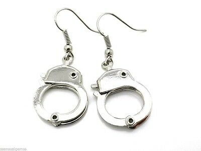 """New Handcuff 1"""" Hand Cuff Pierced Earrings Silver Tone Policeman or Wife OPENS"""