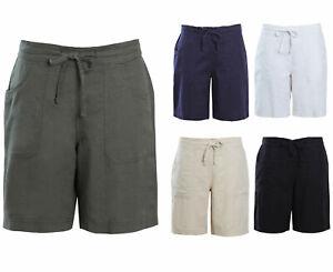 Ladies Linen Shorts Summer Womens Short Trousers Holidays Viscose Tie  Drawstring | eBay