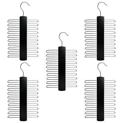 20 Bar Cravatta Cintura Foulard In Legno Appendiabiti Da Armadio Organizer Appendiabiti Nero X5-mostra Il Titolo Originale