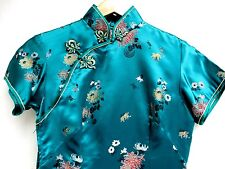 VTG 70'S..CHEONGSAM..RAYON..CHINESE..TURQUOISE..EVENING..LONG..PARTY..DRESS..34